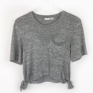 Aritzia Wilfred Free Gray Tie Sides Cropped Tee